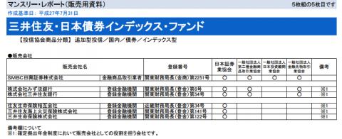 三井住友・日本債券インデックス・ファンドの販売チャネル